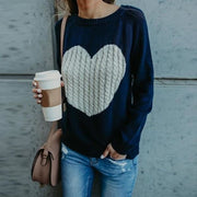 Embroidered Heart Sweater - Blue / L - Sweater