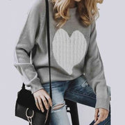 Embroidered Heart Sweater - Gray / L - Sweater