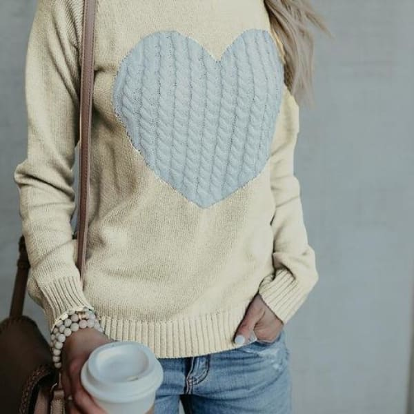 Embroidered Heart Sweater - Ivory / L - Sweater