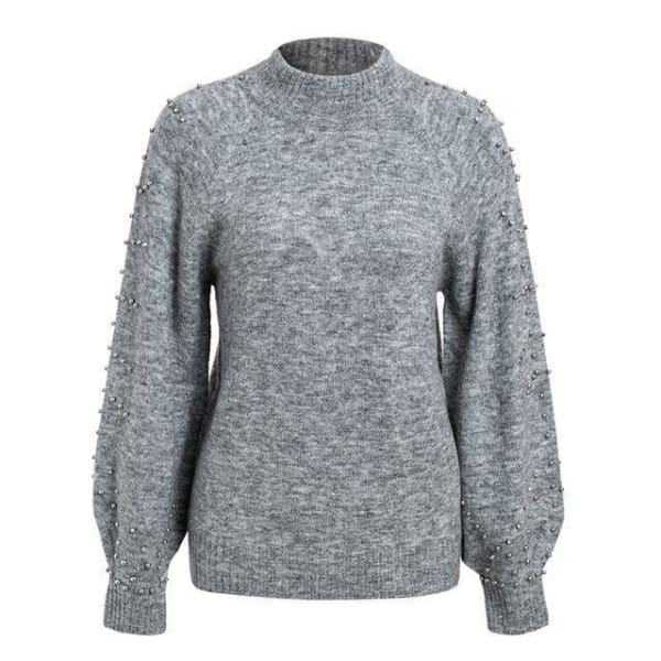 Beaded Turtleneck Sweater - Gray / S - Turtleneck