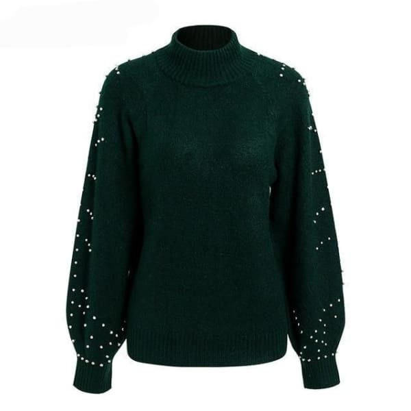 Beaded Turtleneck Sweater - Dark Green / S - Turtleneck