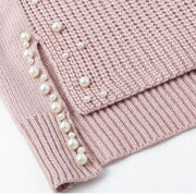 Womens Beaded Turtleneck Pullover - Turtleneck