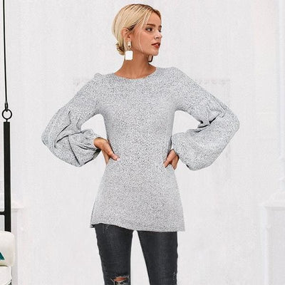 Puff Sleeve Pullover Sweater - Pullover