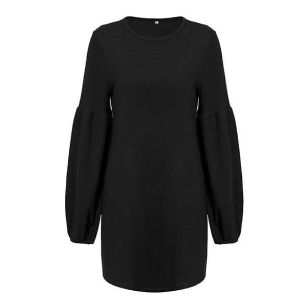 Puff Sleeve Pullover Sweater - Black / M - Pullover
