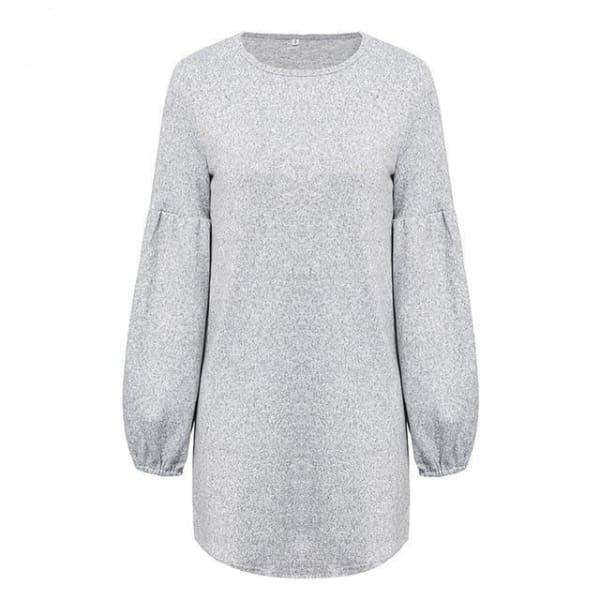 Puff Sleeve Pullover Sweater - Gray / M - Pullover