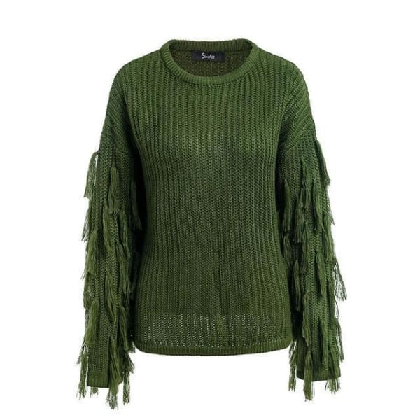 Tassel Sweater - Army Green / One Size - Sweater