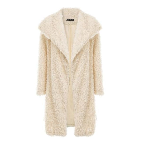 Long Faux Fur Coat - Apricot / S - Coat