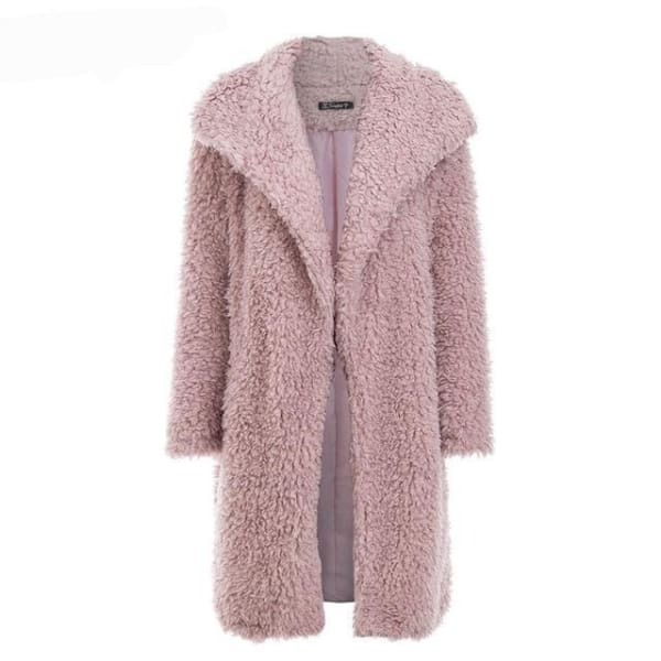Long Faux Fur Coat - Pink / S - Coat
