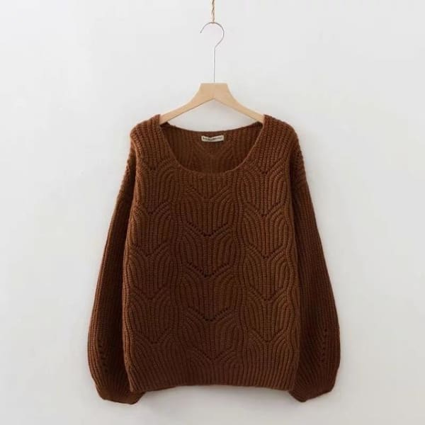 Elegant Cable Knit Sweater - Brown / One Size - Pullover