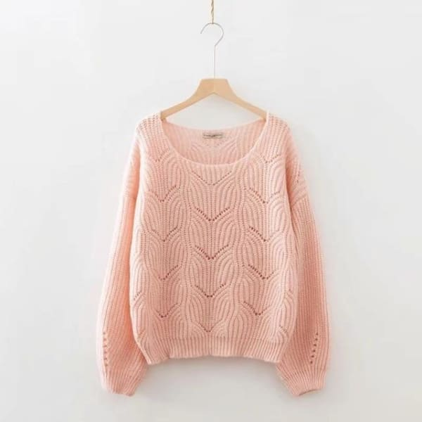 Elegant Cable Knit Sweater - Pink / One Size - Pullover