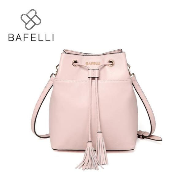 Leather Bucket Bag - Pink / 8.25W x 10.25H x 4D - Bucket