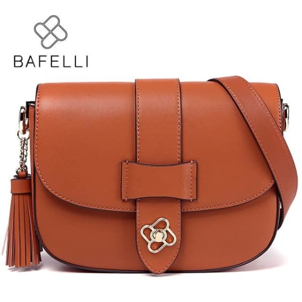 BAFELLI Saddle Style Crossbody - Rust / 9W x 6.25H x 2.5D - Crossbody