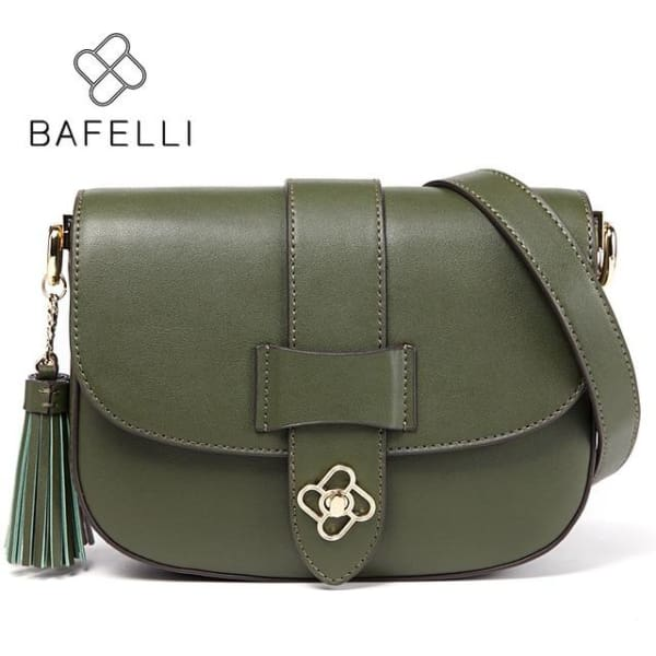 BAFELLI Saddle Style Crossbody - Army Green / 9W x 6.25H x 2.5D - Crossbody