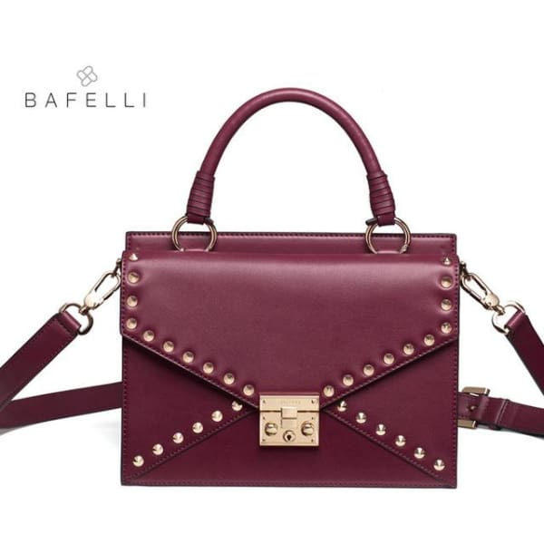 BAFELLI Riveted Satchel - Burgundy - Satchel