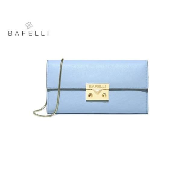 BAFELLI Classic Leather Clutch - Light Blue - Clutch