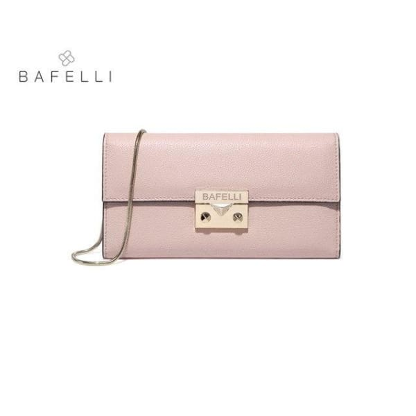 BAFELLI Classic Leather Clutch - Blush Pink - Clutch