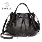 BAFELLI Leather Vintage Hobo Handbag - Black - Hobo