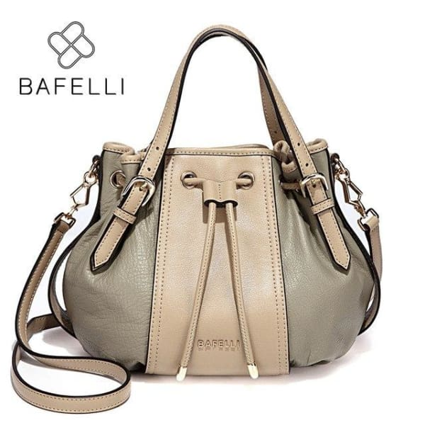 BAFELLI Leather Vintage Hobo Handbag - Sage Green - Hobo