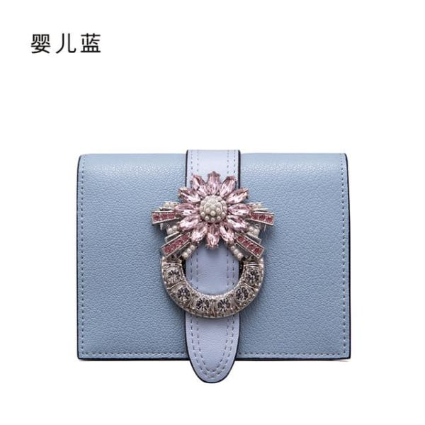 LAFESTIN Luxury Crystal Bifold Wallet - Skyblue - Wallet