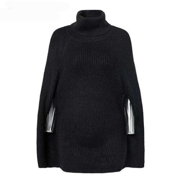Turtleneck Cape - Black / One Size - Sweater