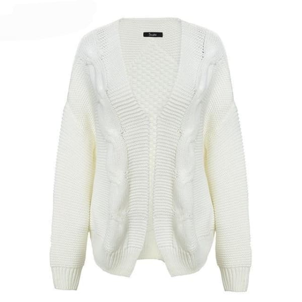 Cable Knit Cardigan Sweater - White / One Size - Cardigan