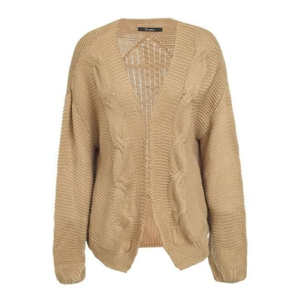 Cable Knit Cardigan Sweater - Camel / One Size - Cardigan