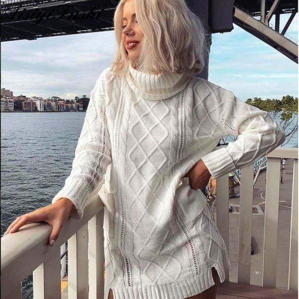 White Cableknit Turtleneck Sweater - Turtleneck