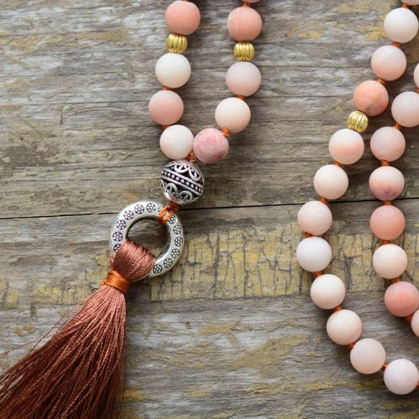 Agate Beaded Tassel Necklace - Beaded Necklace