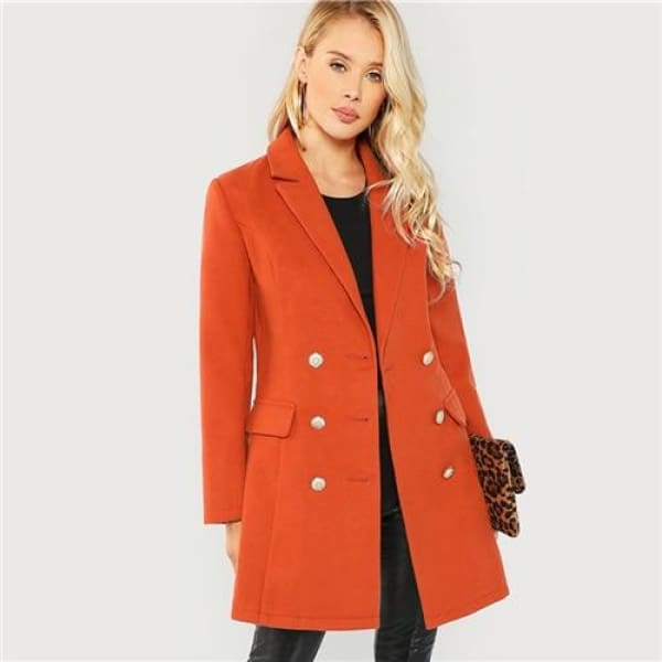 Orange Double Breasted Coat - Brown / XS - Coat