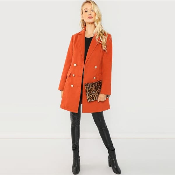 Orange Double Breasted Coat - Coat