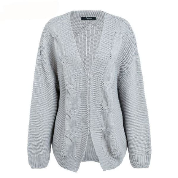 Cable Knit Cardigan Sweater - Gray / One Size - Cardigan