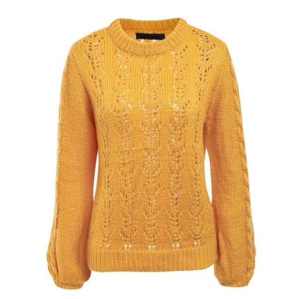 Lantern Sleeve Knit Sweater - Yellow / One Size - Pullover