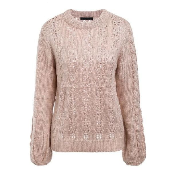 Lantern Sleeve Knit Sweater - Pink / One Size - Pullover