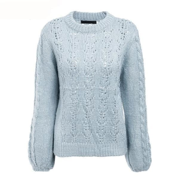 Lantern Sleeve Knit Sweater - Light Blue / One Size - Pullover