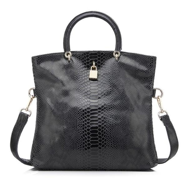 Leather Snakeskin Tote - Dark gray / Imported / (30cm<Max Length<50cm) - Tote
