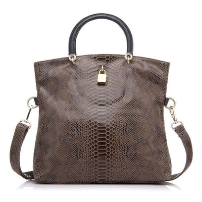 Leather Snakeskin Tote - Dark khaki / Imported / (30cm<Max Length<50cm) - Tote