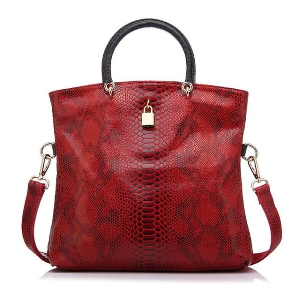 Leather Snakeskin Tote - Red / Imported / (30cm<Max Length<50cm) - Tote