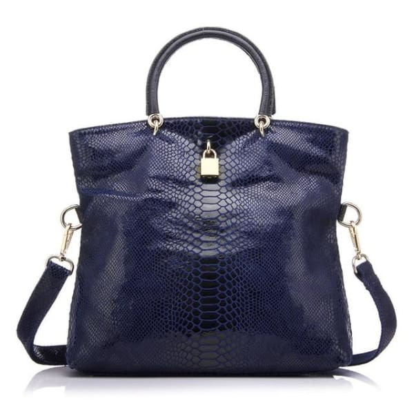 Leather Snakeskin Tote - Dark blue / Imported / (30cm<Max Length<50cm) - Tote