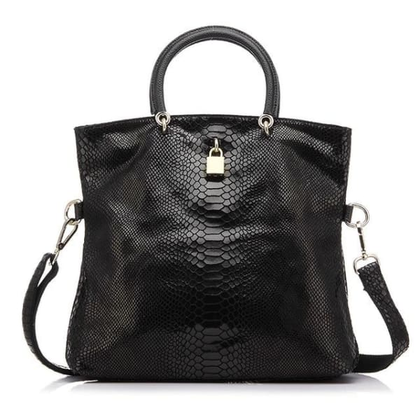 Leather Snakeskin Tote - Black / Imported / (30cm<Max Length<50cm) - Tote