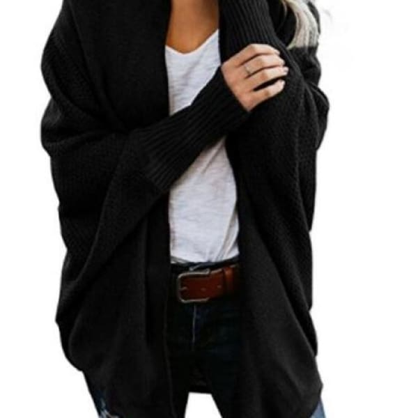 Loose Knit Cardigan - Black / L - Cardigan