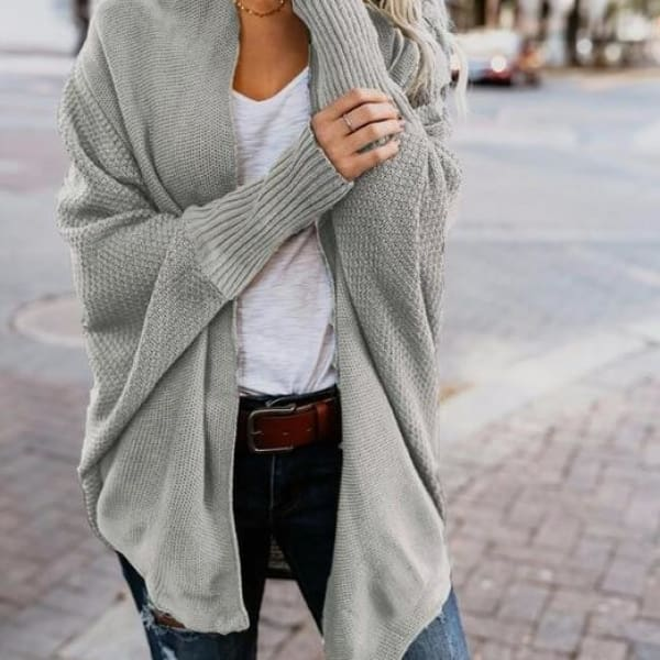 Loose Knit Cardigan - Gray / L - Cardigan