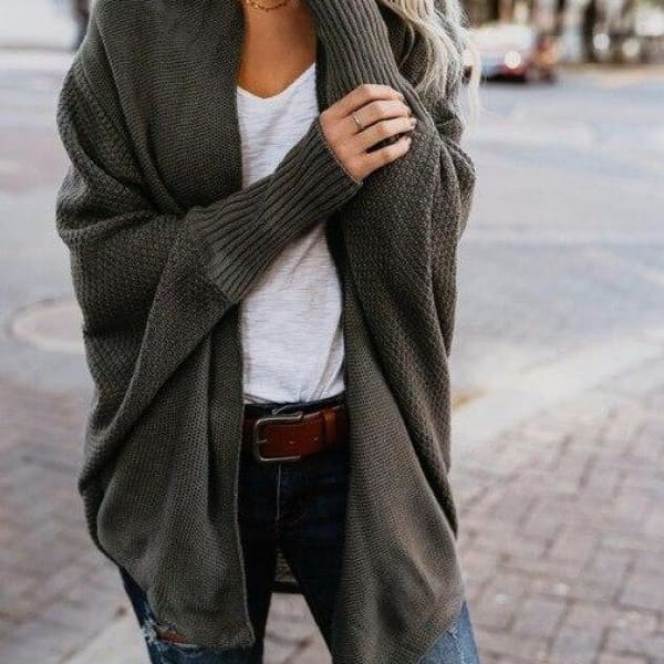 Loose Knit Cardigan - Dark Green / L - Cardigan
