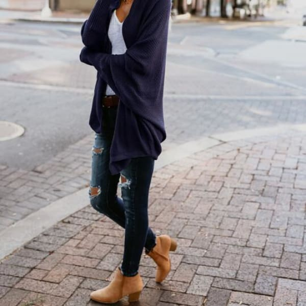 Loose Knit Cardigan - Navy Blue / L - Cardigan