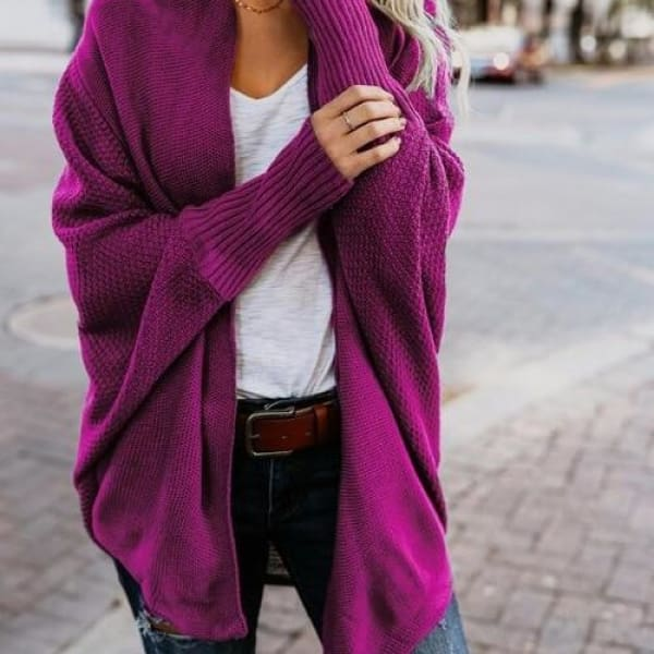 Loose Knit Cardigan - Rose / L - Cardigan