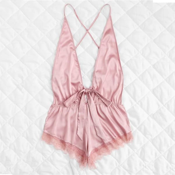 Pink Teddy Romper with Lace Trim - Lingerie Set