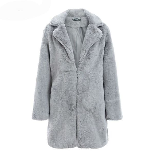 Shaggy Brown Faux Fur Coat - Gray / S - Coat
