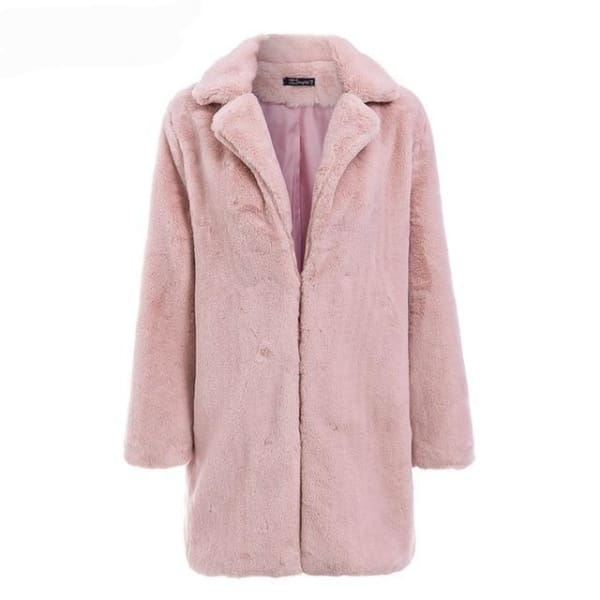 Shaggy Brown Faux Fur Coat - Pink / S - Coat