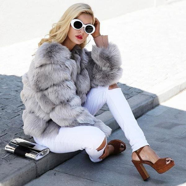 Vintage Cut Faux Fur Coat - Coat