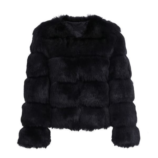 Vintage Cut Faux Fur Coat - Black / S - Coat