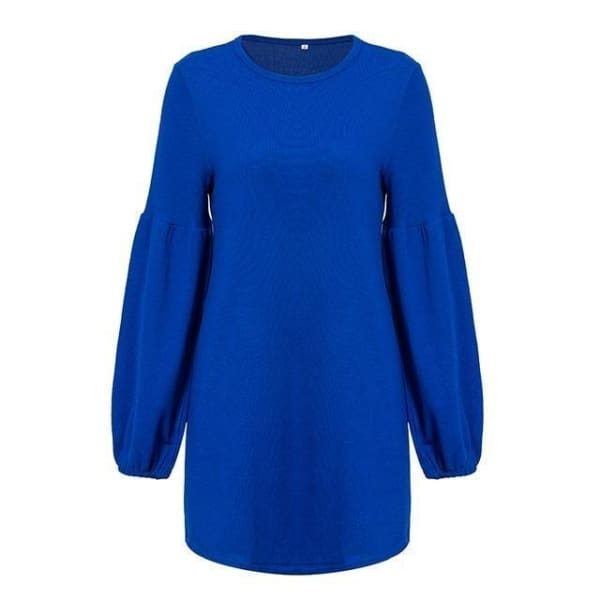 Puff Sleeve Pullover Sweater - Blue / S - Pullover